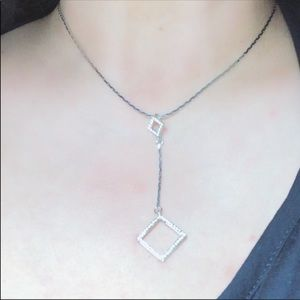 Vintage Geometric Diamond Shape Sparkle Necklace